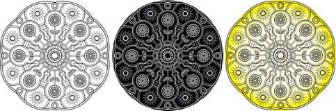 Mandala av solrosen för färgläggningbok Arkivfoto