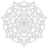 Mandala avec des coeurs pour livre de coloriage Images stock