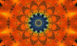 Mandala avec des effets lumineux oranges illustration stock