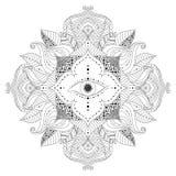 Mandala avec la fleur et les feuilles intérieures d'oeil magique illustration stock