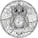 Mandala avec le hibou illustration stock