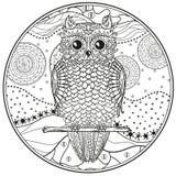 Mandala avec le hibou Zentangle de conception illustration libre de droits