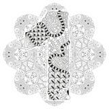 Mandala avec le numero un pour la coloration Zentangle décoratif de vecteur Images libres de droits