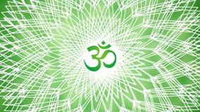 Mandala avec le signe d'Aum/OM/ohm Dans des couleurs vertes Rotation méditative de modèle vidéo illustration stock