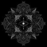 Mandala avec le vecteur intérieur d'oeil magique de fleur illustration stock