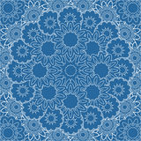 Mandala azul abstracta Frontera ornamental floral Imagenes de archivo