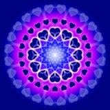 Mandala azul del amor - círculo de corazones ilustración del vector