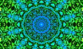 Mandala azul e verde com detalhes luminosos ilustração royalty free