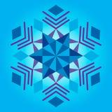 Mandala azul, ornamento geométrico, ano novo do floco de neve, Natal foto de stock royalty free