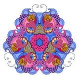mandala Azul-rosada en el fondo blanco Fotografía de archivo