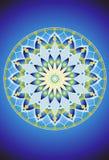Mandala azul y verde 1 de la flor libre illustration