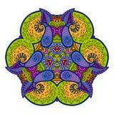 Mandala azulverde en el fondo blanco Fotografía de archivo libre de regalías