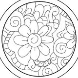 Mandala Ball flower coloring vector for adults Stock Images