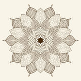 Mandala. Beautiful hand drawn flower. Ethnic lace round ornamental pattern. Can be used to fabric design, decorative paper, web design, embroidery, tattoo, etc Royalty Free Stock Image