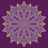 Mandala. Beautiful hand-drawn flower. Violet background. Royalty Free Stock Photography