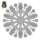 Mandala with a beetle's scarab. Stock Photos