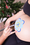 Mandala Belly Painting in Christmas Royalty Free Stock Images
