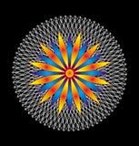 Mandala bianca Openwork su un fondo nero con una stella variopinta nel centro Vettore illustrazione vettoriale