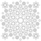 Mandala in bianco e nero del fiore di vettore composta con i fiori ed i cerchi, linee nere sul fondo di Libro Bianco illustrazione di stock