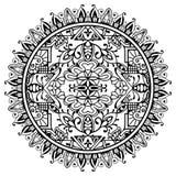 Mandala in bianco e nero, ornamento etnico tribale Fotografia Stock Libera da Diritti