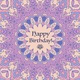 Mandala Birthday Card Elementi decorativi dell'annata Fondo disegnato a mano Islam, arabo, motivi indiani Fotografie Stock