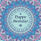 Mandala Birthday Card. Royalty Free Stock Photo