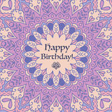 Mandala Birthday Card.  Vintage decorative elements. Hand drawn background. Islam, Arabic, Indian motifs. Stock Photos