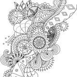 Mandala blüht für Malbuch für Erwachsene oder Hintergrund lizenzfreie stockfotografie