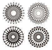 Mandala Black e bianco Priorità bassa di disegno Sottragga l'ornamento Pratica spirituale Fotografie Stock Libere da Diritti