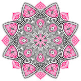 Mandala Black e rosa Immagini Stock