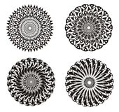 Mandala on a black and white. Art background. Spiritual Practice. Mandala on a black and white. Abstract ornament in Vector graphics. Can be used for logo Stock Photos