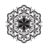 Mandala black and white color. Decorative ornament, abstract flower isolated on white background. Holiday oriental pattern. Digital illustration Stock Photos