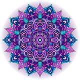 Purple mandala.Decorative element vector.Islam, Indian, Persian pattern. stock illustration