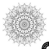 Mandala 15. Black and white mandala isolated on white background. Coloring book page for older children and adult colorists. Anti-stress therapy pattern. Vintage Royalty Free Illustration
