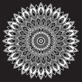 Mandala black and white, monochrome Indian ornament. East, ethnic design, oriental pattern, round . For use in fabric , print, tat Royalty Free Stock Images