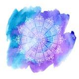 Mandala blanca en fondo de la acuarela libre illustration