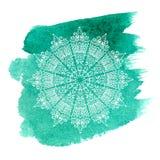 Mandala blanca en fondo verde de la acuarela ilustración del vector