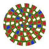 Mandala blanca roja verde del estilo del japanistics del rizo ilustración del vector