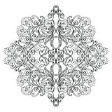 Mandala blanco y negro Diseño adulto de la página del libro de colorear Imagen de archivo libre de regalías