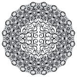 Mandala blanco y negro, ornamento étnico tribal Foto de archivo