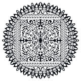 Mandala blanco y negro, ornamento étnico tribal Imagen de archivo libre de regalías