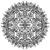 Mandala blanco y negro, ornamento étnico tribal Fotografía de archivo libre de regalías