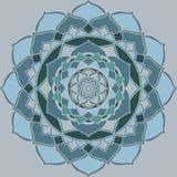 Mandala bleu-clair, ornement oriental vert guetzal illustration libre de droits