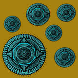 Mandala blu nel giallo Fotografia Stock Libera da Diritti