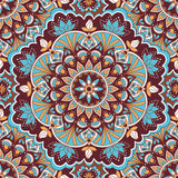 Mandala in blue and brown colors seamless pattern Royalty Free Stock Image