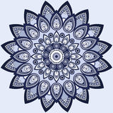 Mandala in blue. East, ethnic design, oriental pattern, round ornament. For use in fabric decor,  , print, tattoo Stock Images