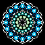 Mandala bohemian  dot painting, Aboriginal dot art, retro folk design inspired by traditional art from Australia. Abstract mandala with dots, circles inspired by Stock Photo