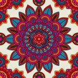 Mandala boho hand drawn seamless pattern. Vector illustration Royalty Free Stock Photos