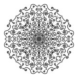 Mandala bonita a colorir, para enegrecer no fundo branco ilustração stock