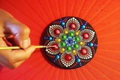 mandala bonita pintada com uma escova Imagens de Stock